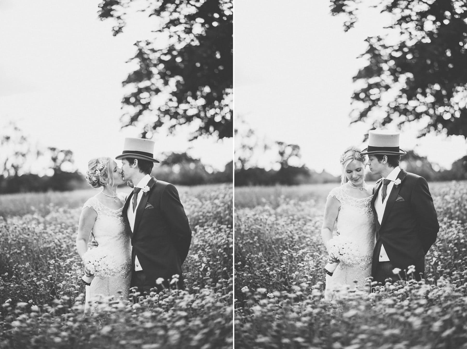 Coworth Park wild flower meadow Bride and Groom portrait
