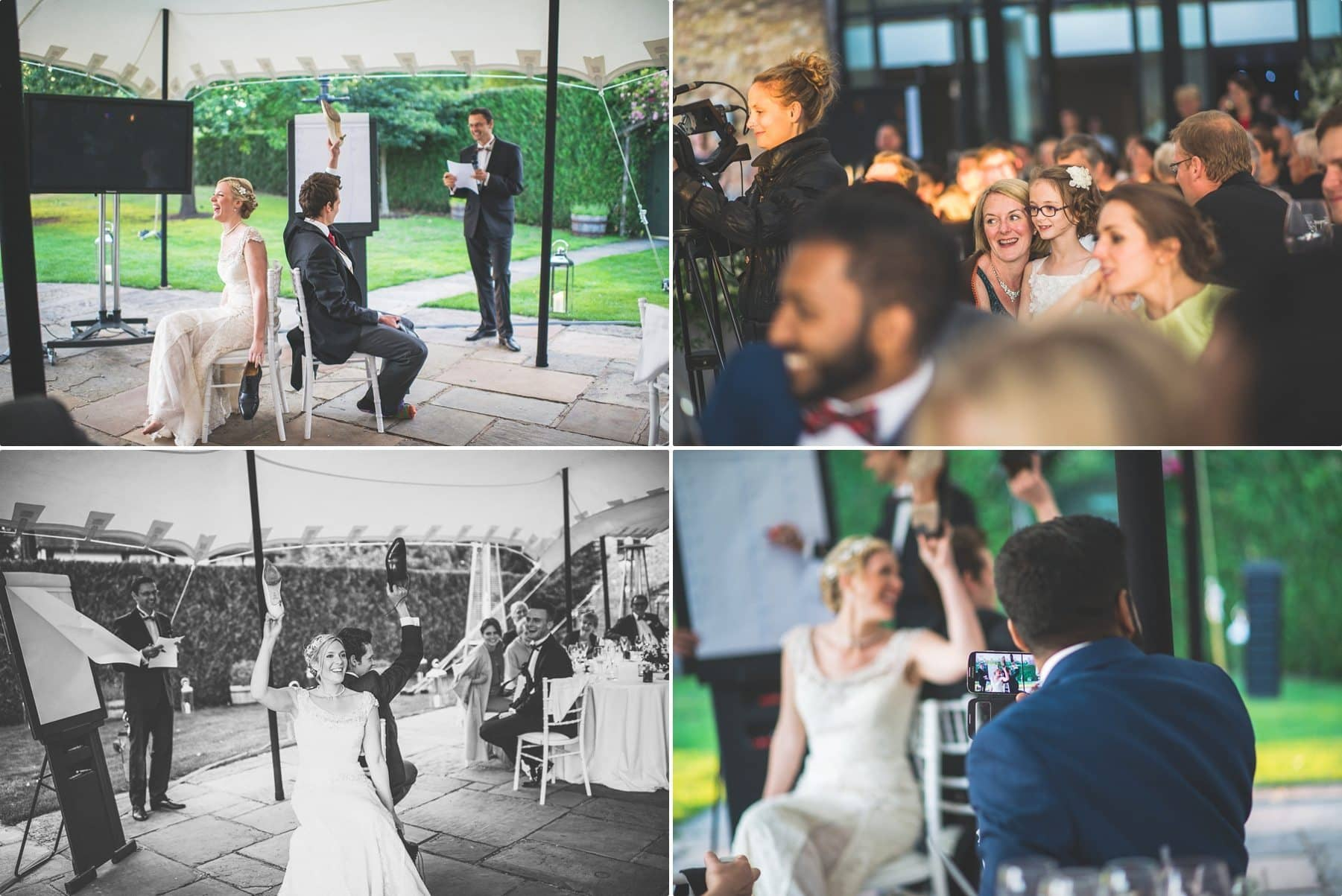 Fun wedding games with the bride and groom at coworth park barn summer wedding