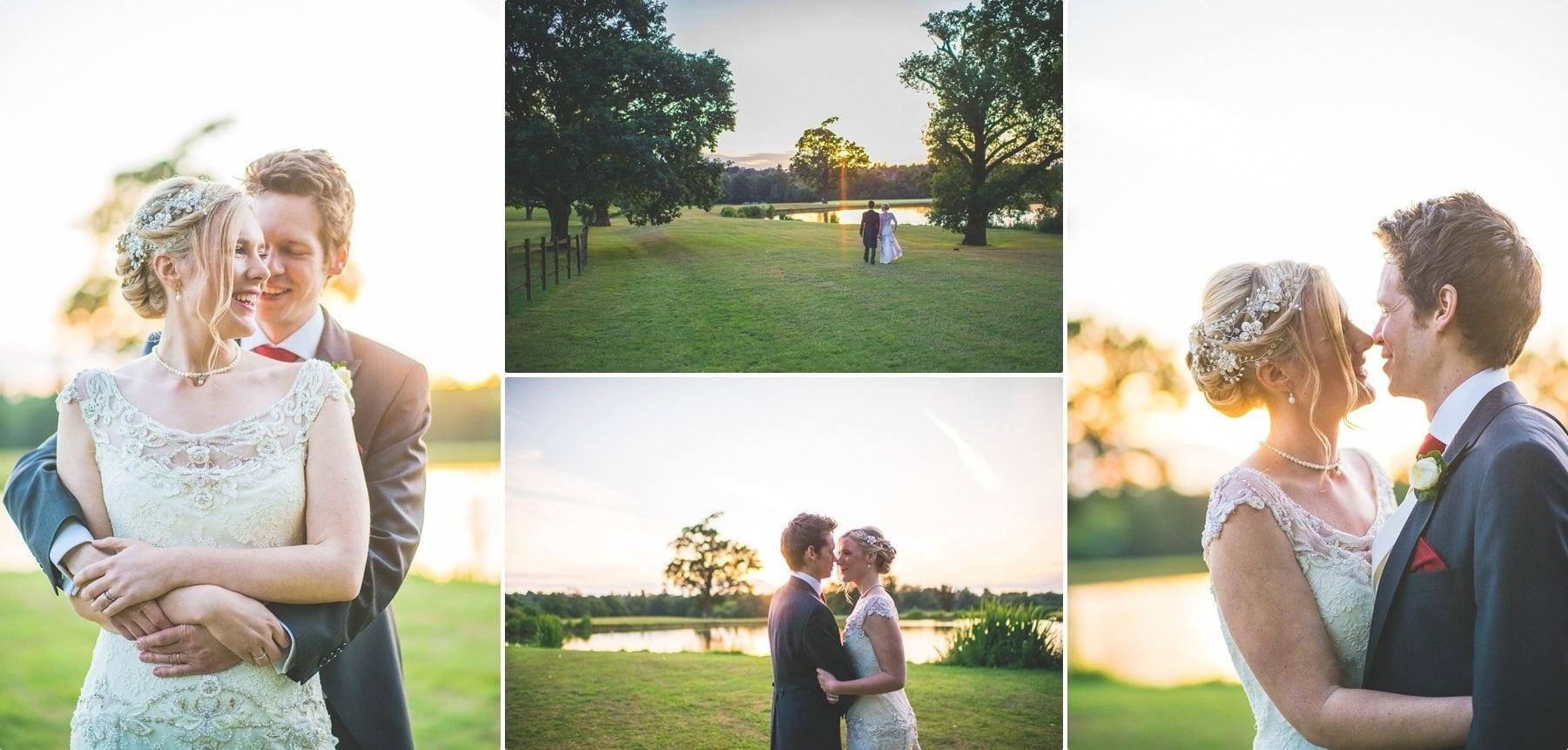 Coworth Park lake at sunset is the perfect couple shoot location for a summer wedding bride and groom