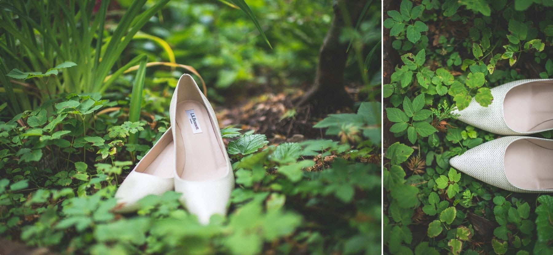 L K Bennett wedding shoes at Coworth Park Barn wedding dower house