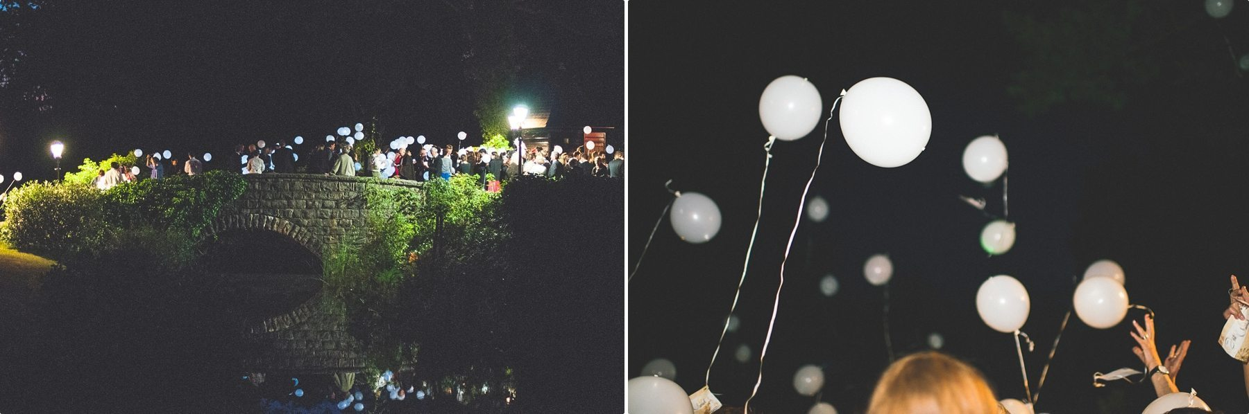wedding guests releasing lit helium balloons at Coworth Park barn summer wedding