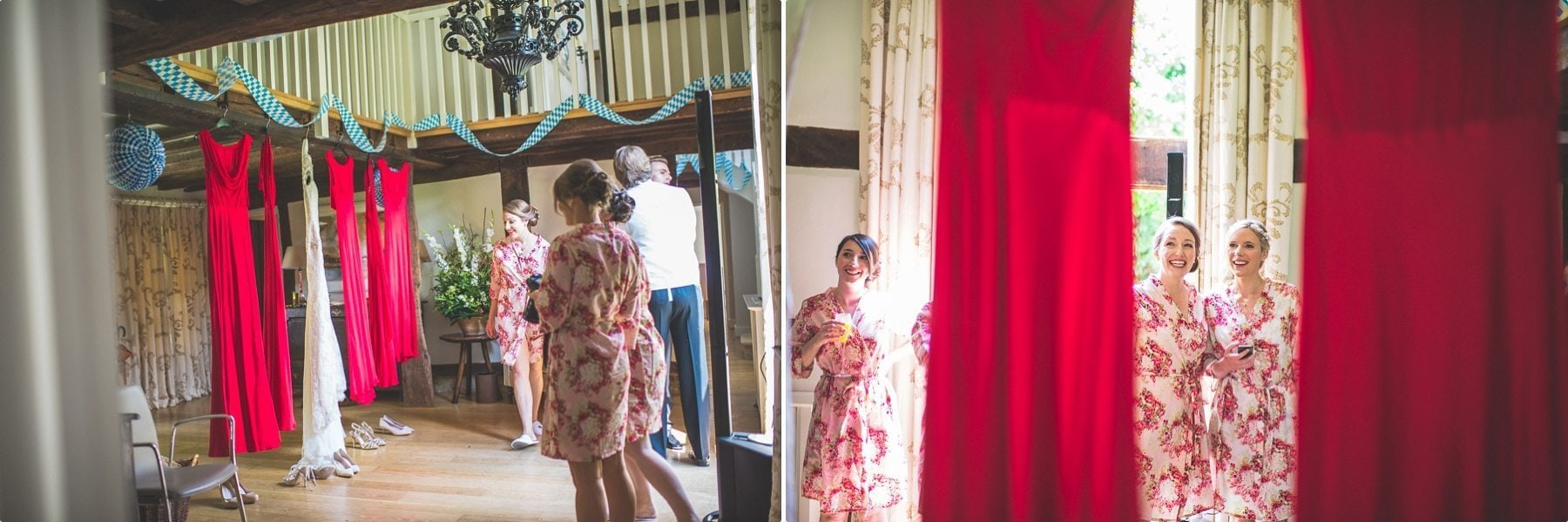 Bridesmaids and bride looking their wedding dresses at the dower house at coworth Park