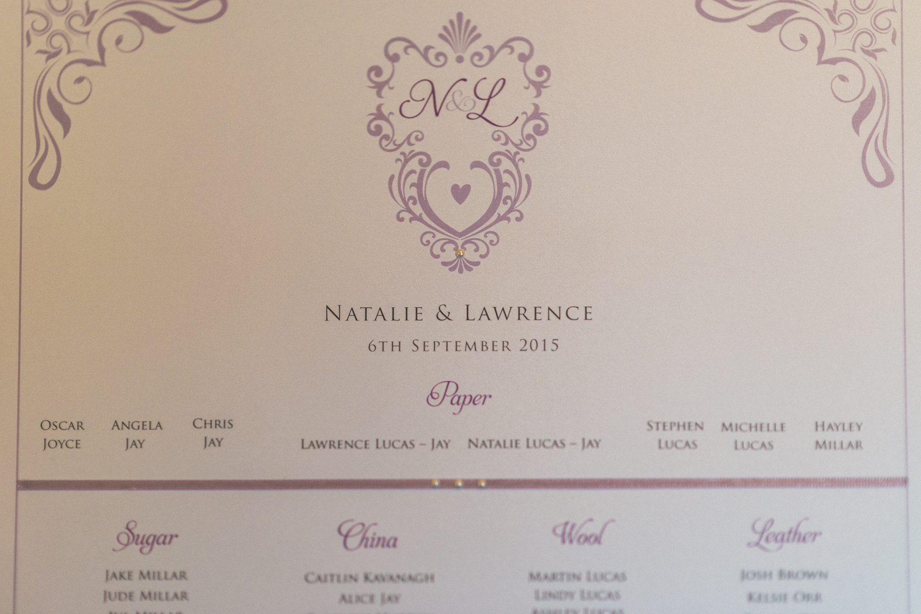 Champagne and lilac wedding theme table plan