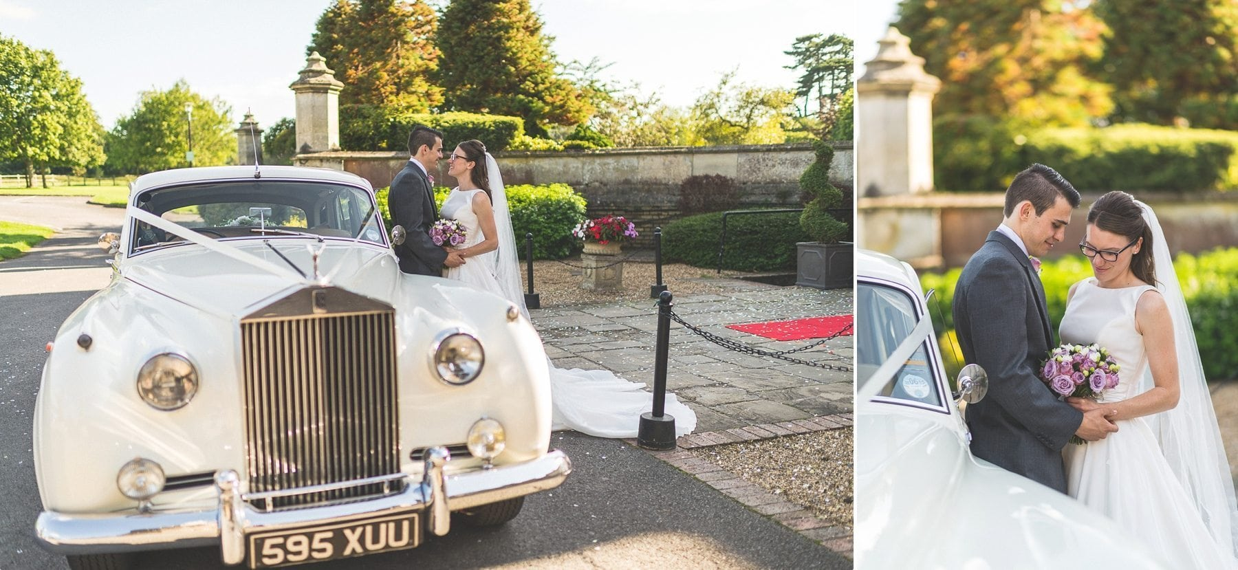 Bride and groom hugging by their vintage wedding car at Horsley Park
