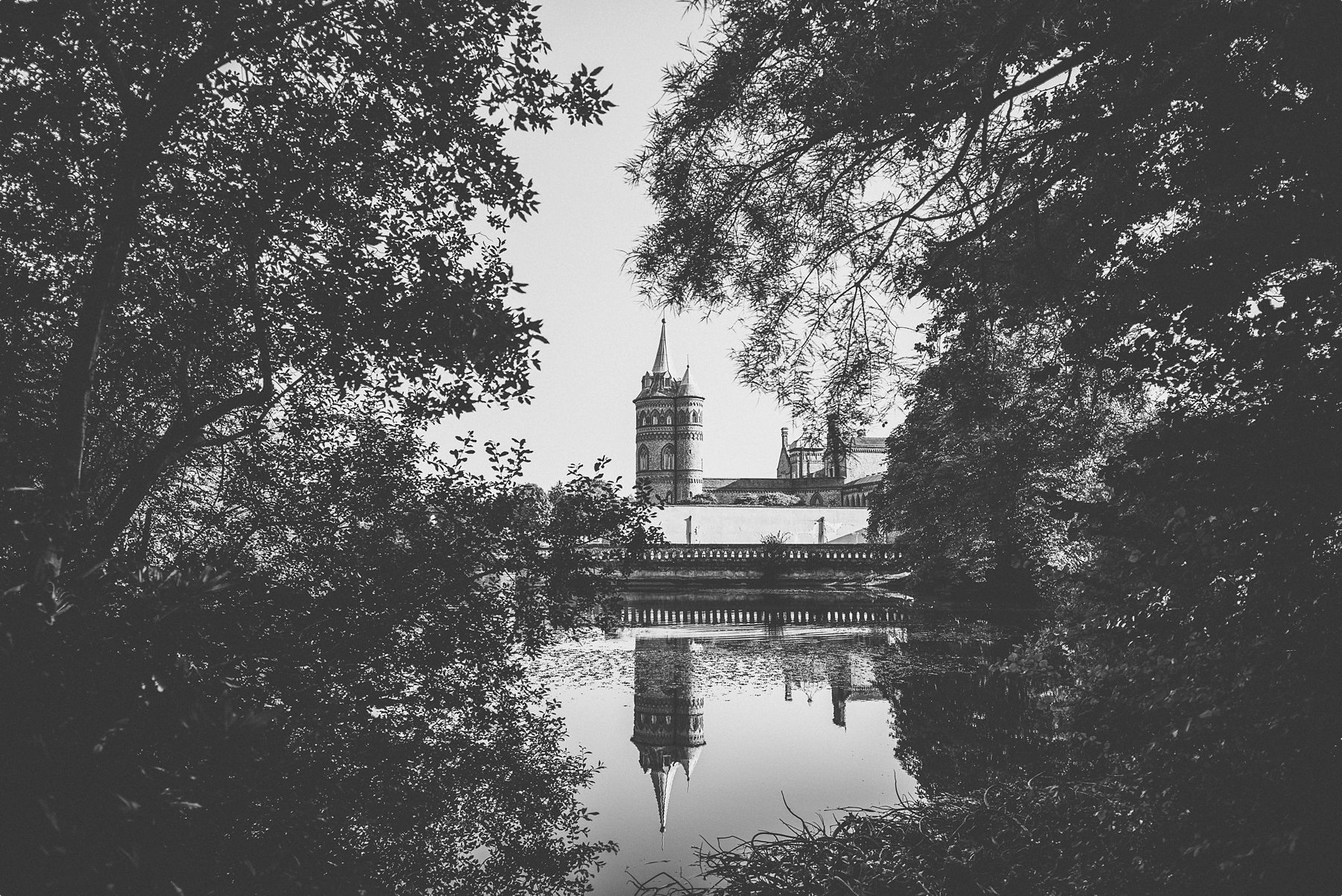 Horsley Towers wedding venue as seen from the lake