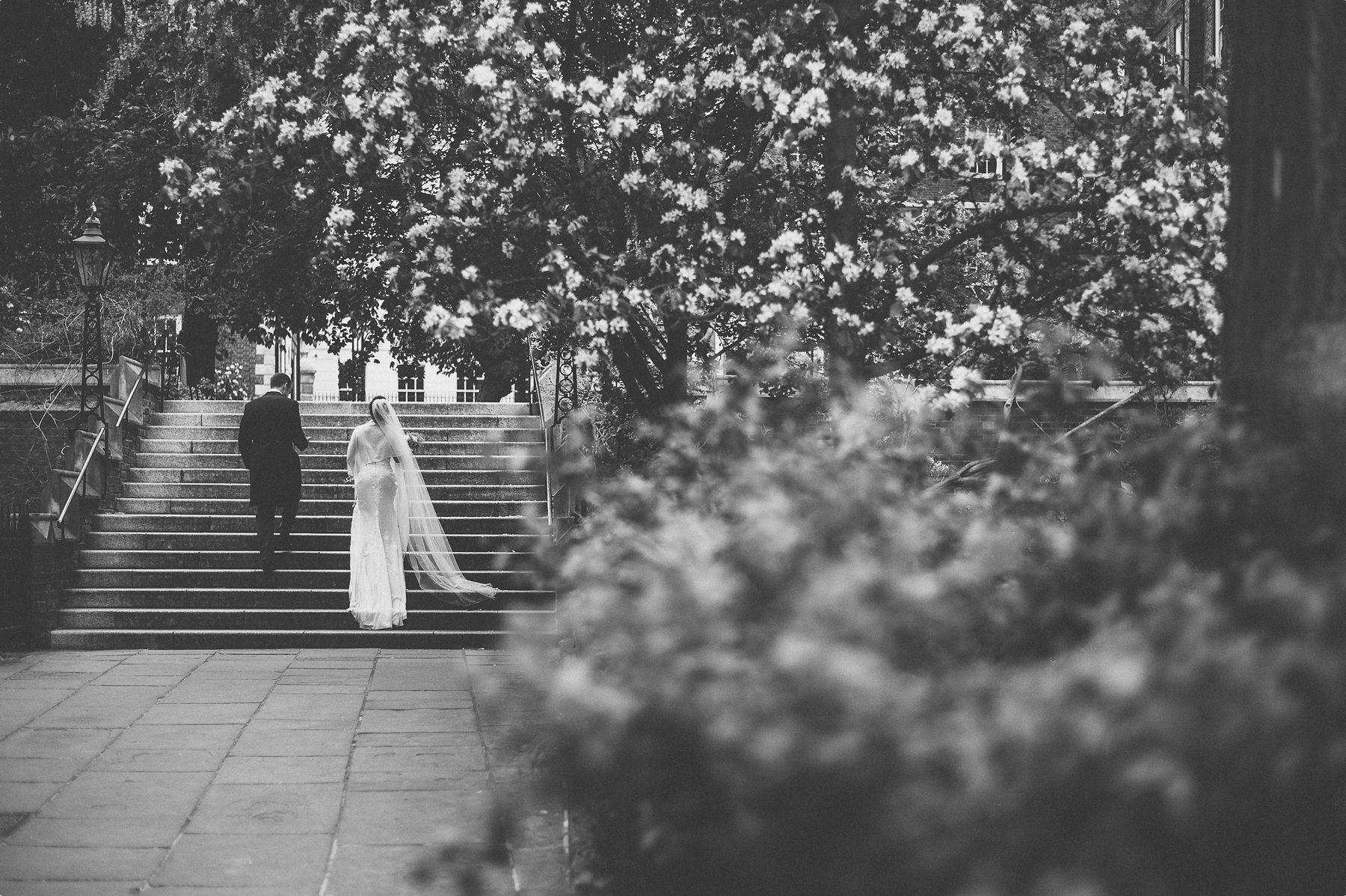 bride and groom walking up the steps at inner temple surrounded by magnolias