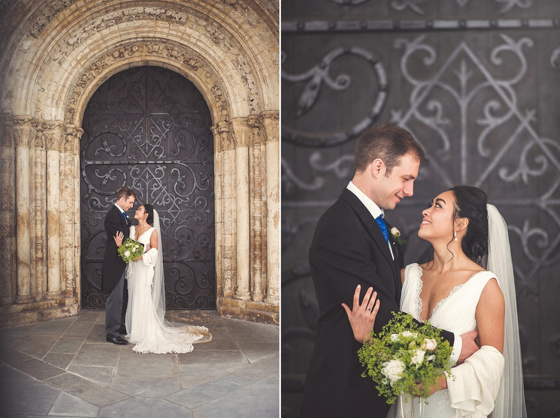 bride and groom standing at the black door of Temple Church