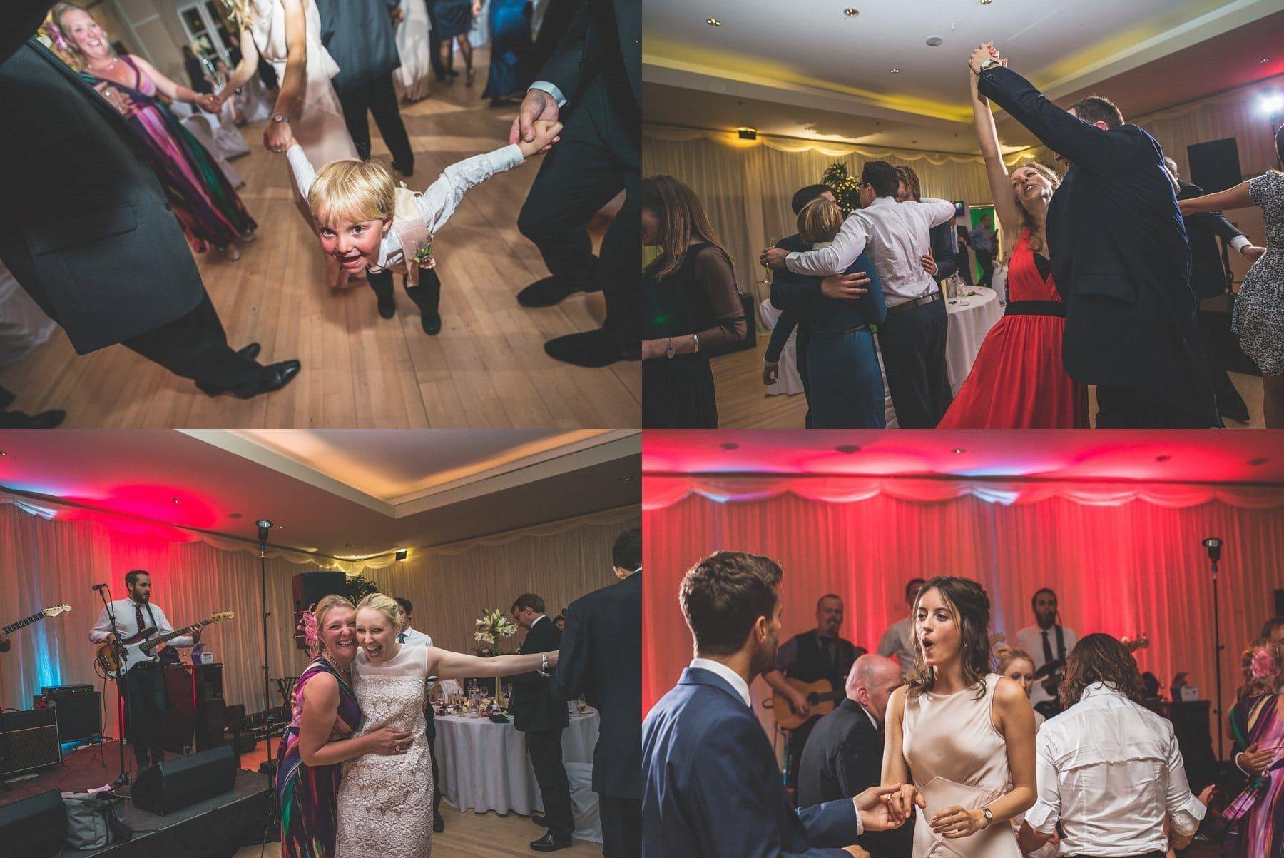 Wedding guests dancing wildly at The Hurlingham Club glamorous music themed Chelsea wedding