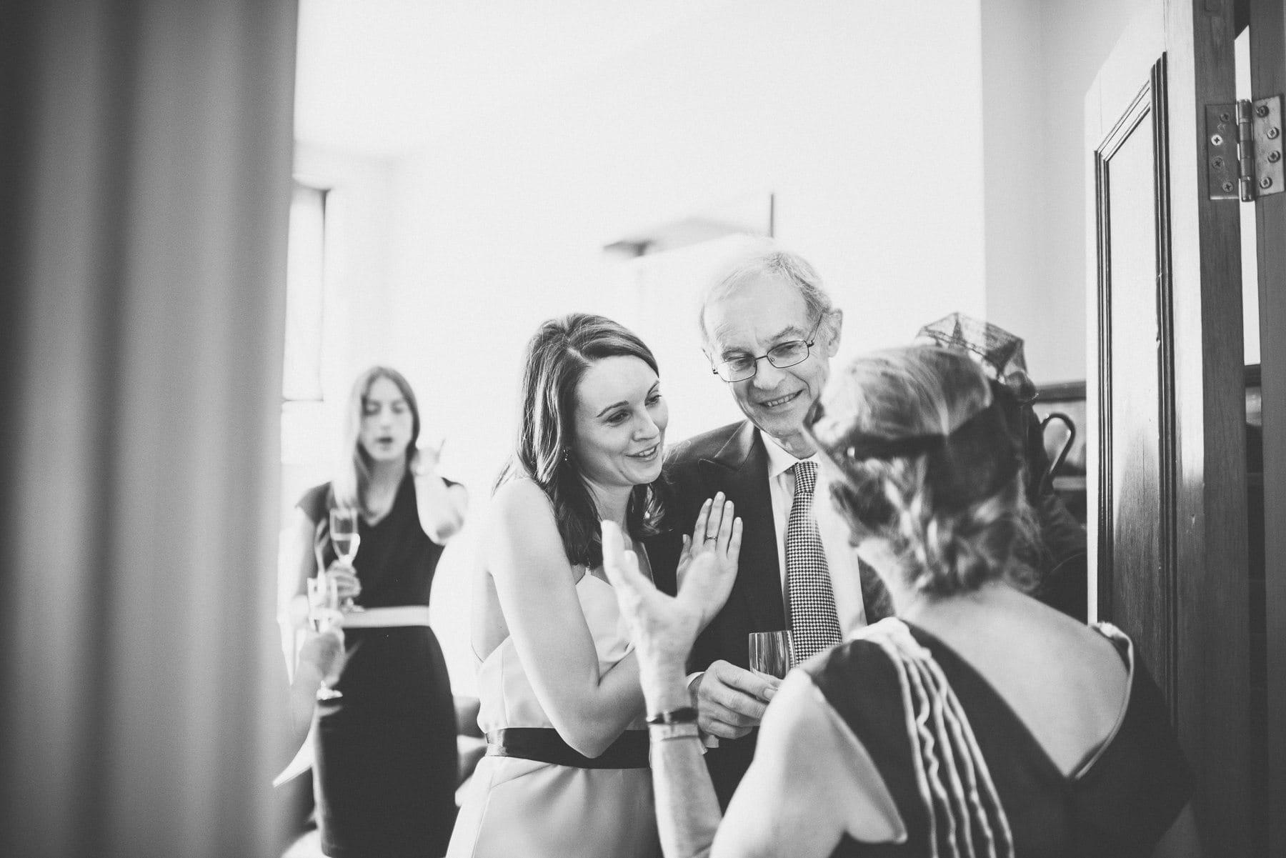 Bride hugging her dad before her Chelsea Wedding ceremony