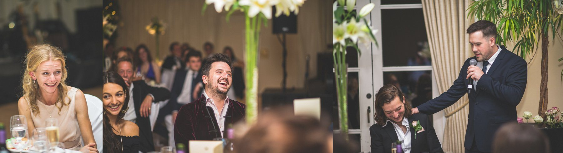 Guests laughing at the best man's speech at the hurlingham club