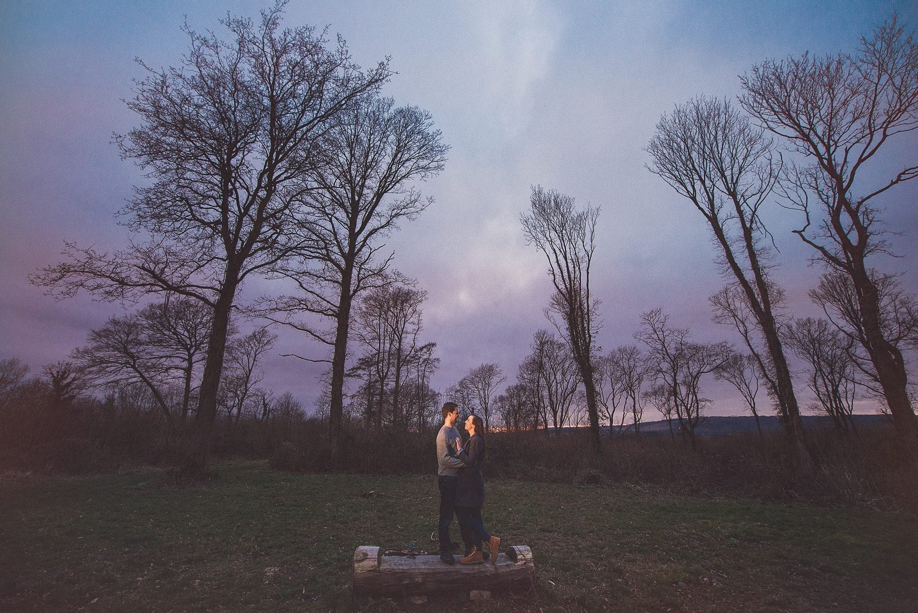 Kent Downs romantic relaxed engagement shoot at sunset