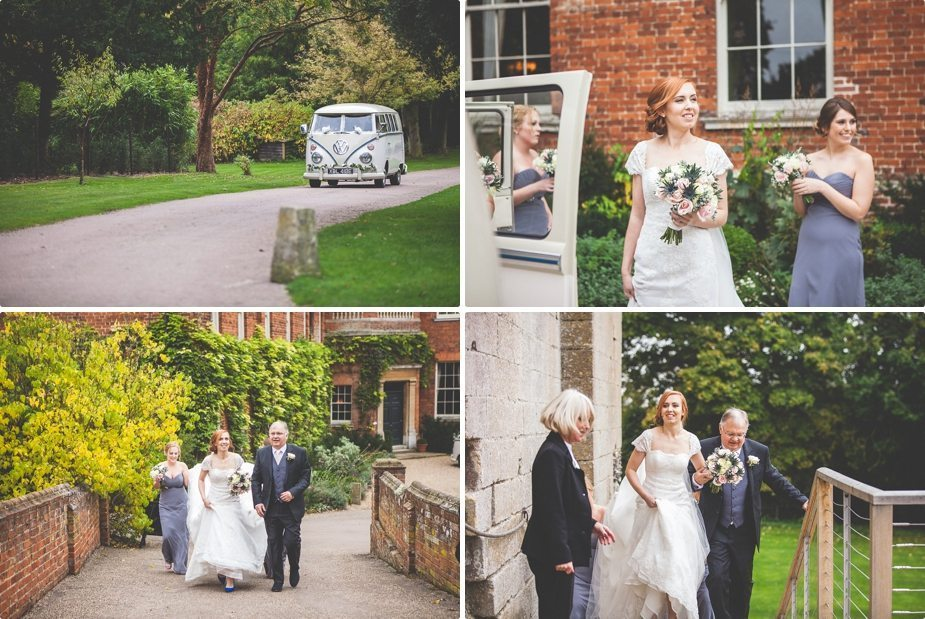 Bride arriving in a vintage VW van for her Hedingham Castle rustic wedding