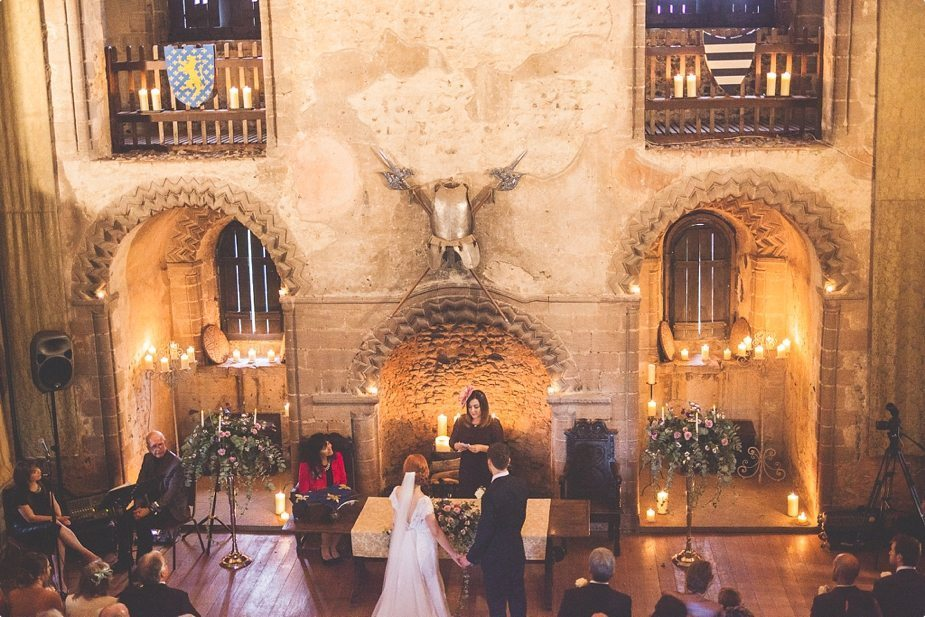 Candle lit Wedding ceremony at Hedingham Castle