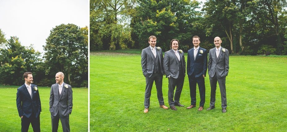 Groom and groomsmen smiling at his Hedingham Castle Wedding