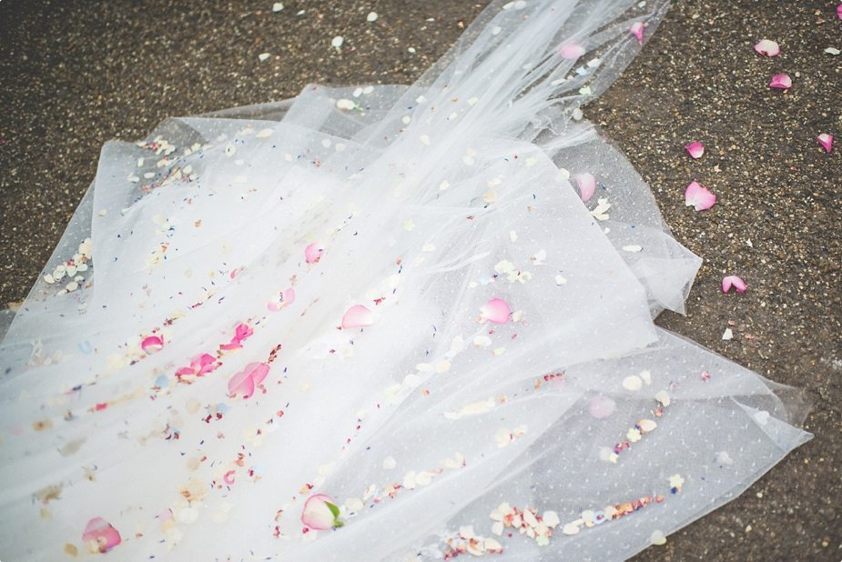 Confetti covered wedding dress