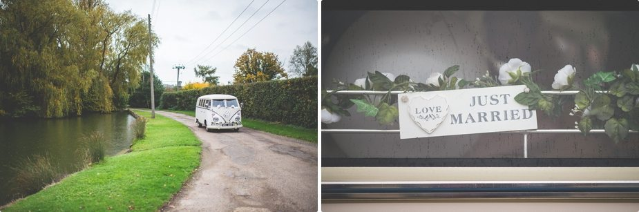 Wedding Vintage VW van arriving at Smeetham Hall Barn lake