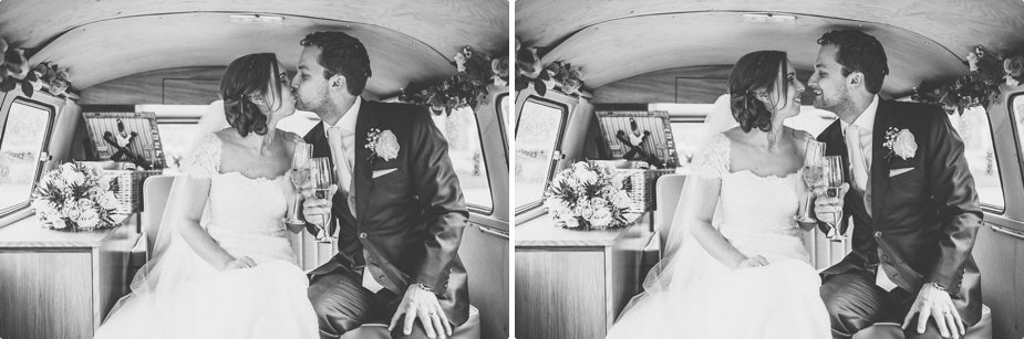 Happy Bride and Groom arriving and kissing in their VW van at Smeetham Hall Barn