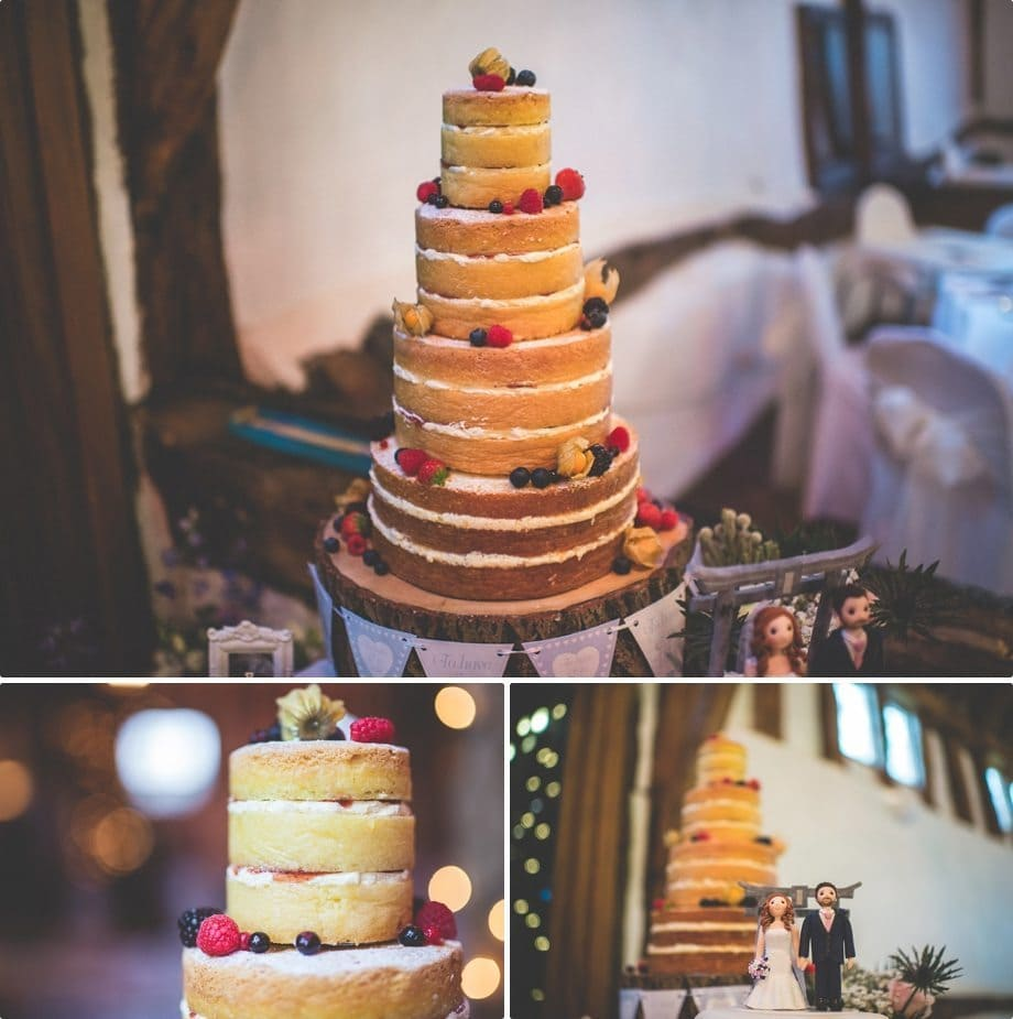 Delicious Naked cake at Smeetham Hall Barn rustic rainy wedding