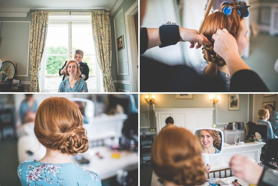 Bride's hair being prepared into a messy side bun at The Old Rectory Country House