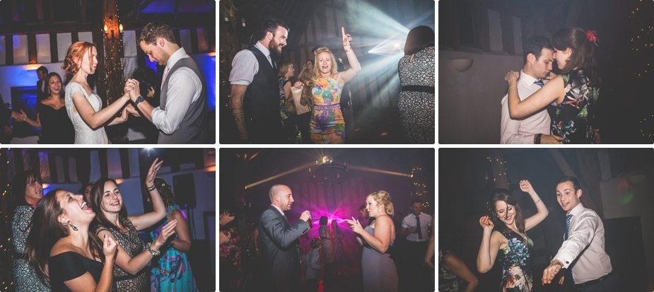 Smeetham Hall Barn wedding guests dancing and laughing