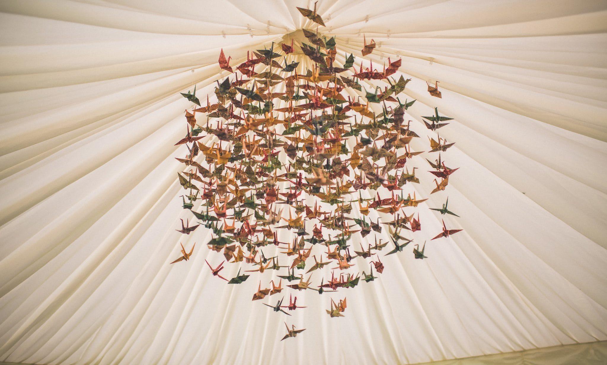 Home-made Paper crane mobile for a wedding centrepiece