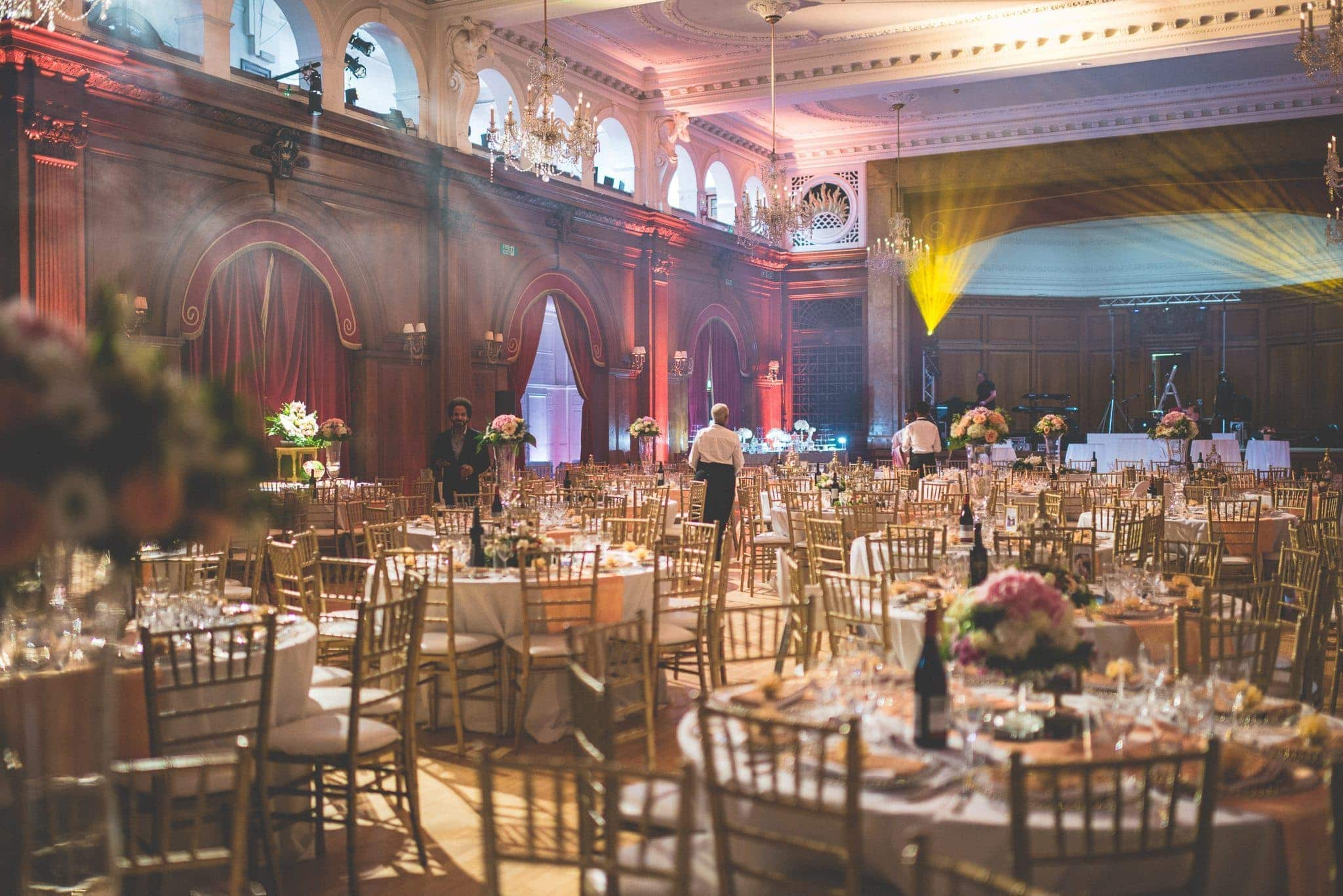 Porchester Hall dressed in a golden wedding theme