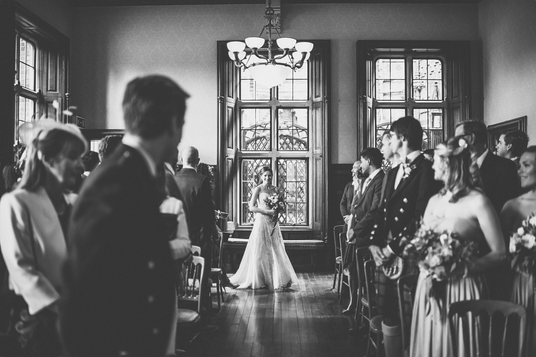 Bride walking down the aisle at her Elvetham Hotel wedding ceremony