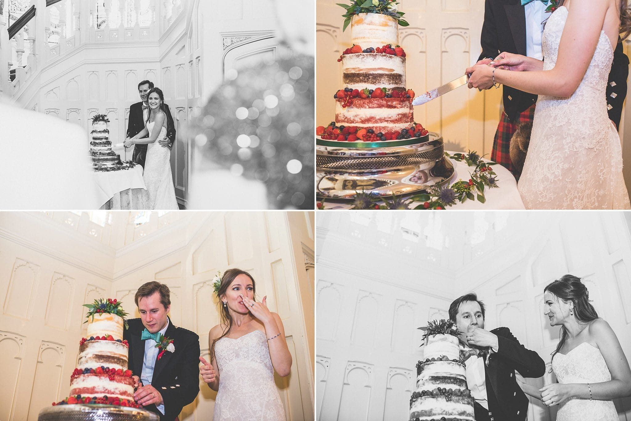 Bride and groom cutting the wedding cake at the elvetham hotel
