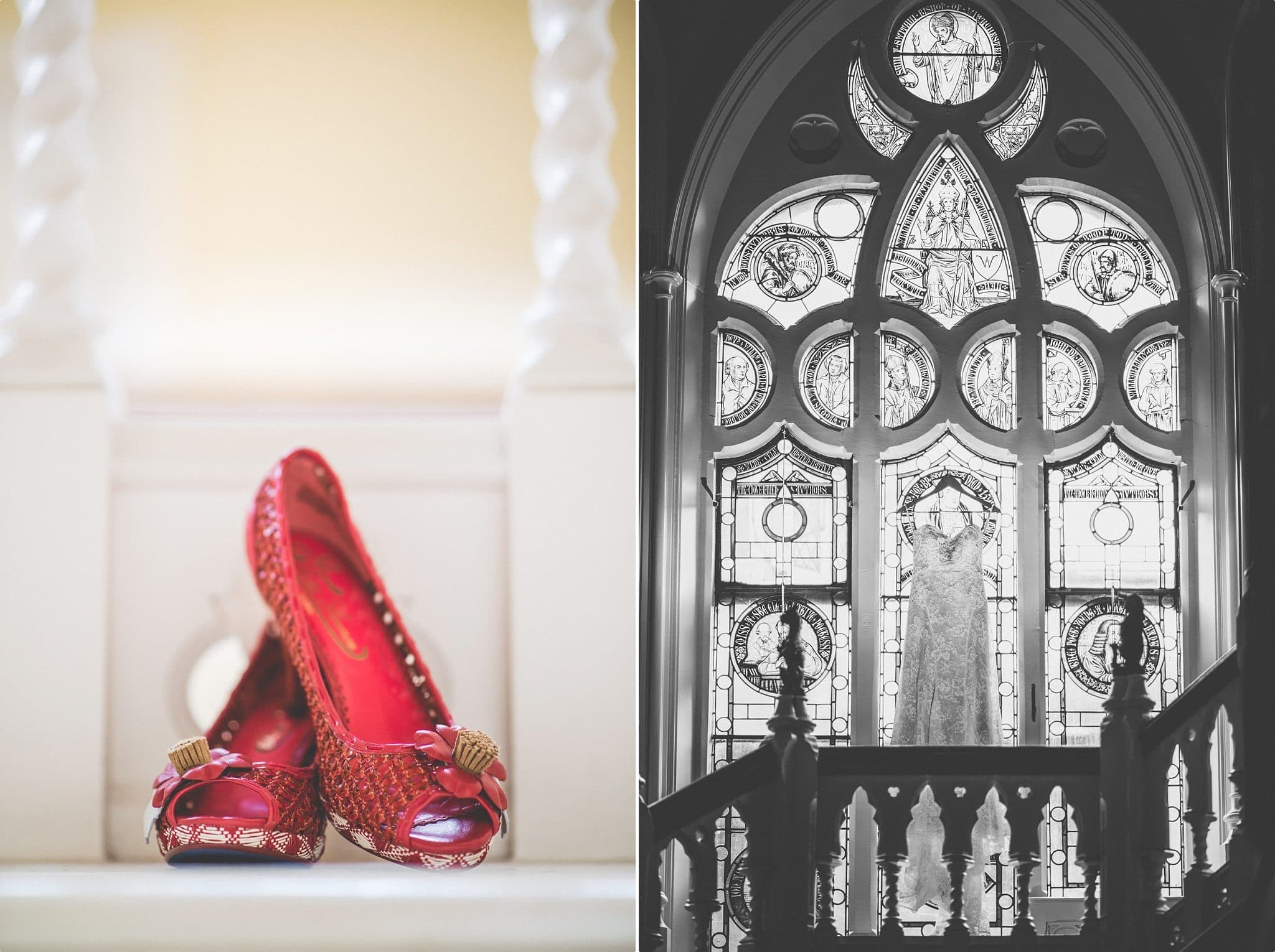 Bride's wedding dress and red wedding shoes at the Elvetham Hotel