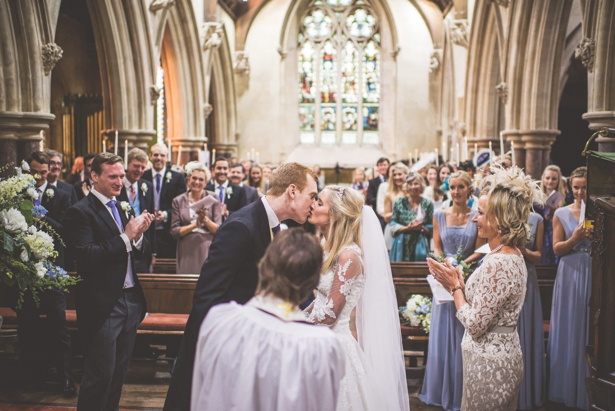 Bride and Groom kissing at their St Audries Park wedding
