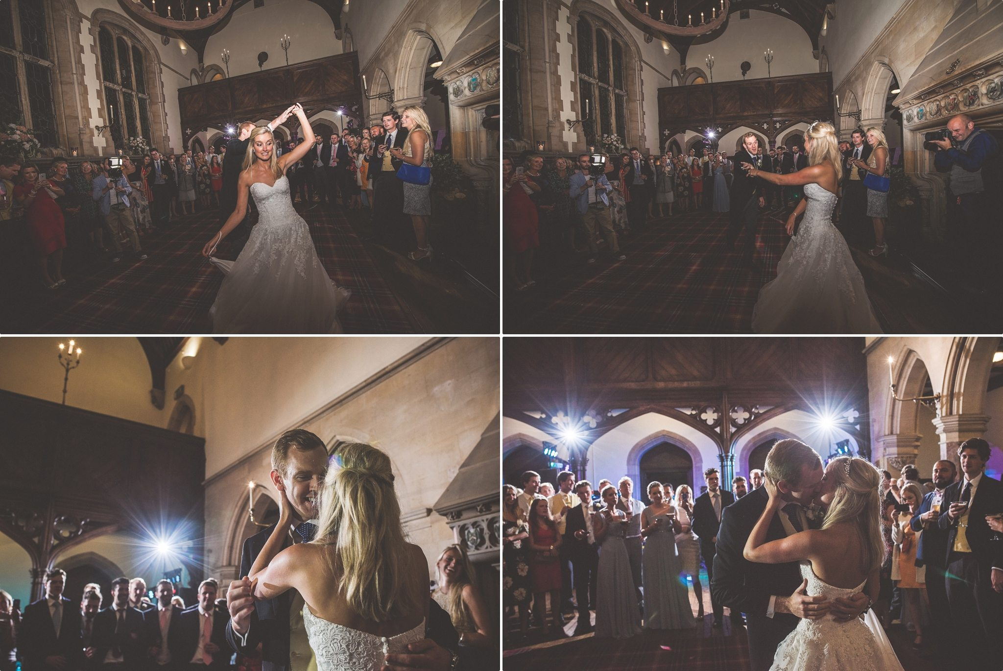 Bride and Groom dancing their first dance in the Grand Hall at St Audries Park