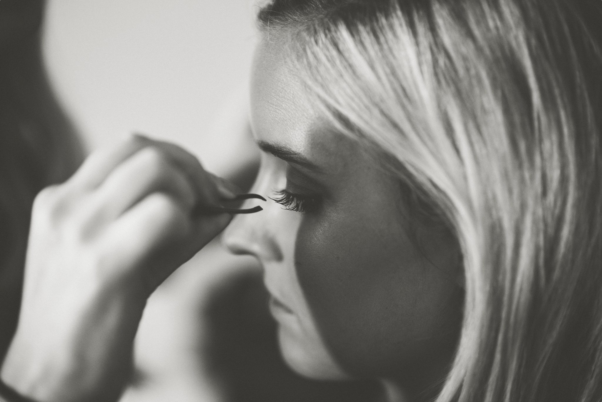 Bride's lashes being applied for her St Audries Park Wedding