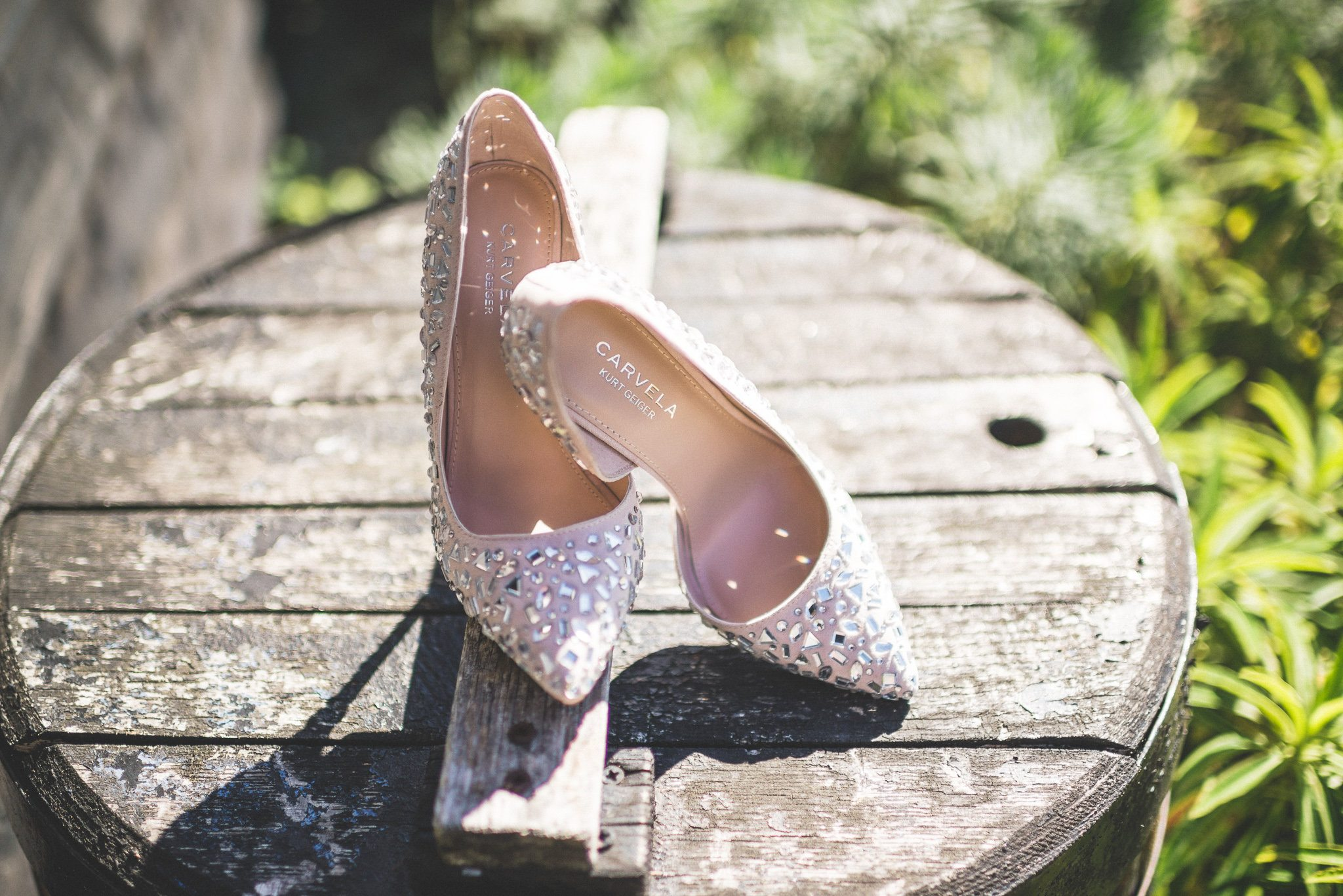 A pair of studded nude Carvela heels