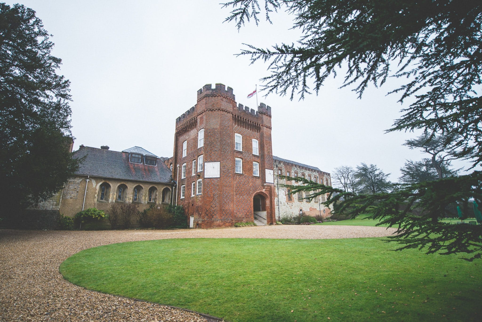 Farnham Castle Bishops Palace wedding venue in the rain