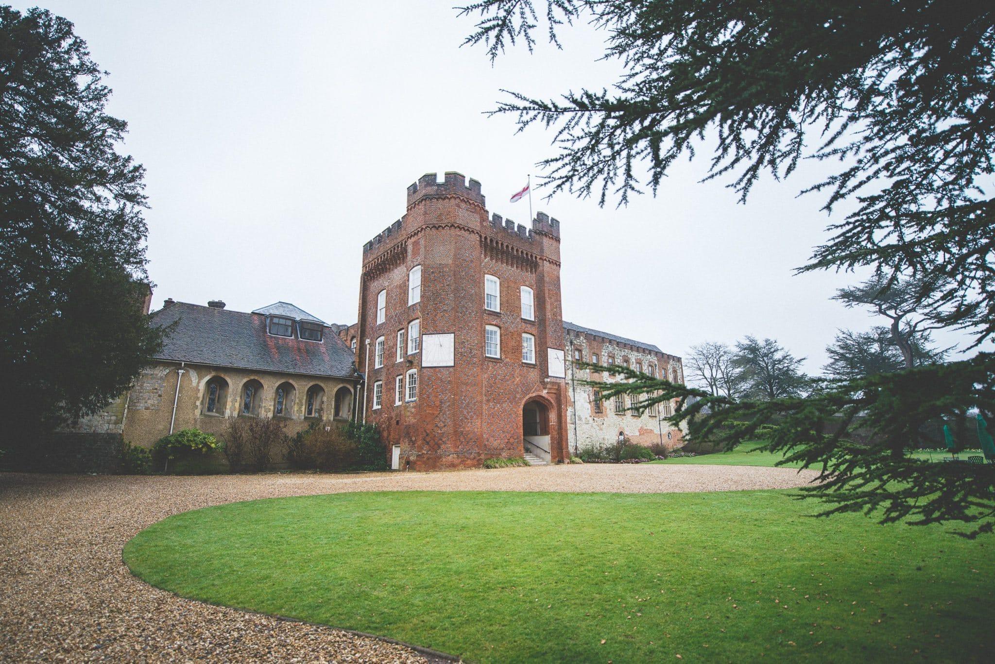 Farnham Castle in the rain