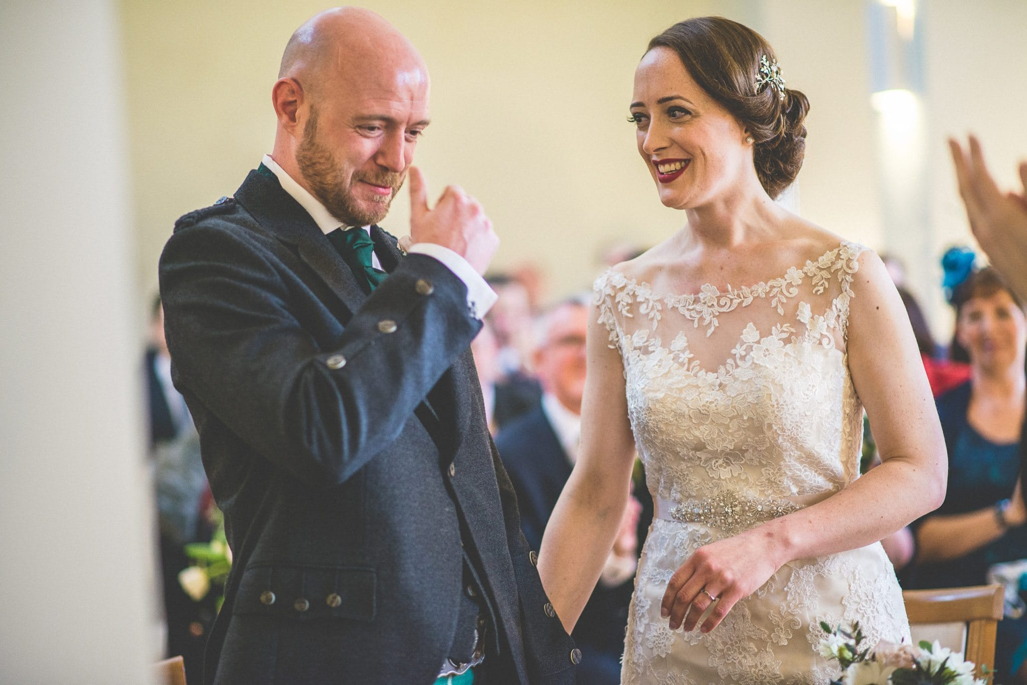 Groom cries at his Scottish Sci-fi Spring Wedding at Farnham Castle Lantern Hall