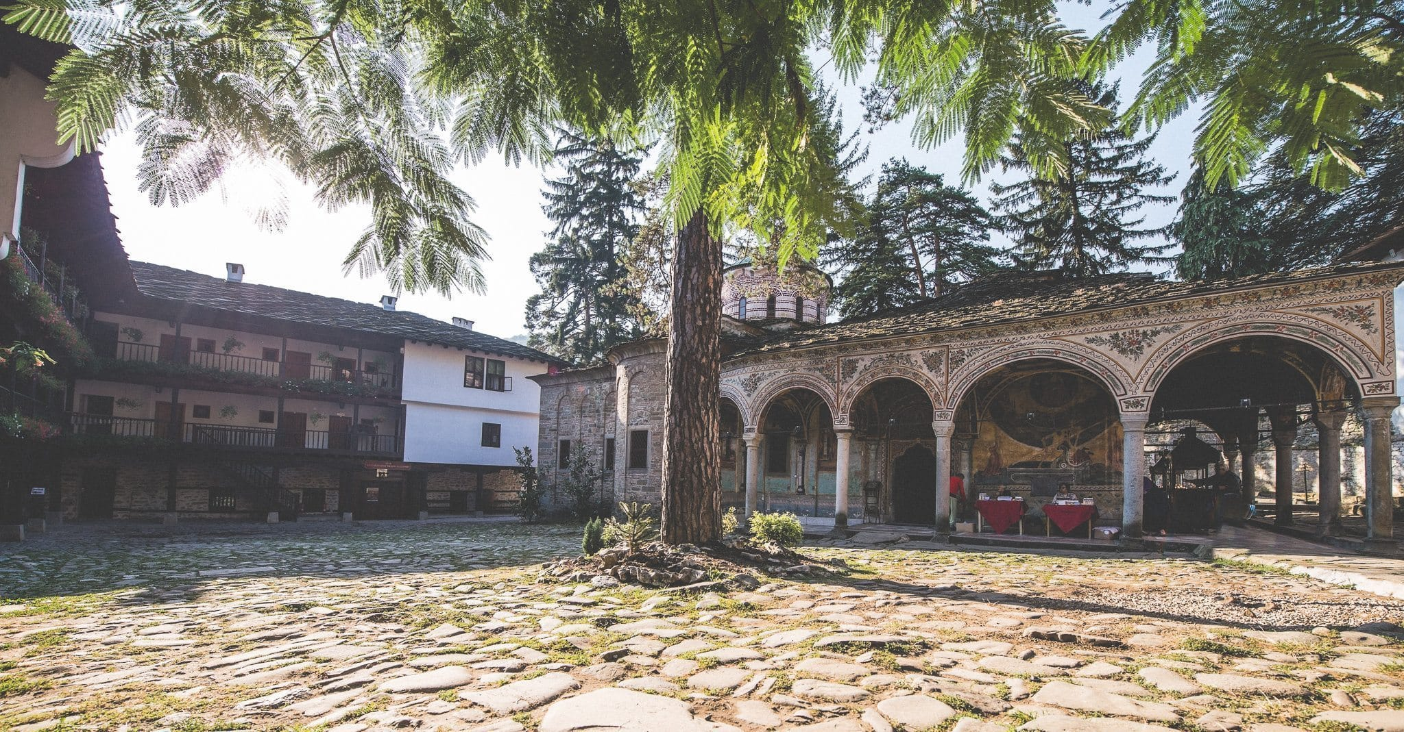 The courtyard and church at the Troyan monastery