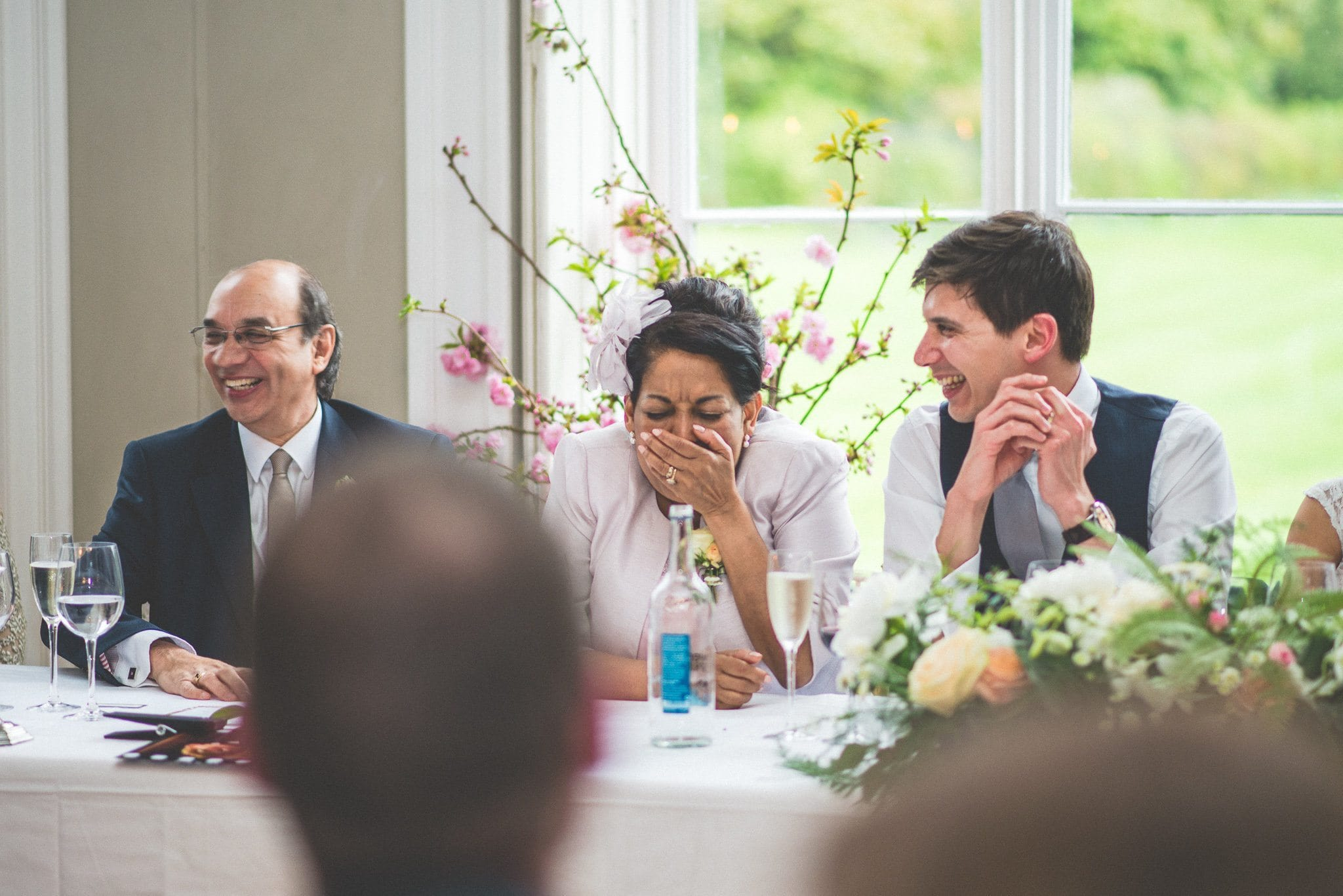 Guests at the top table caught in fits of laughter during the speeches