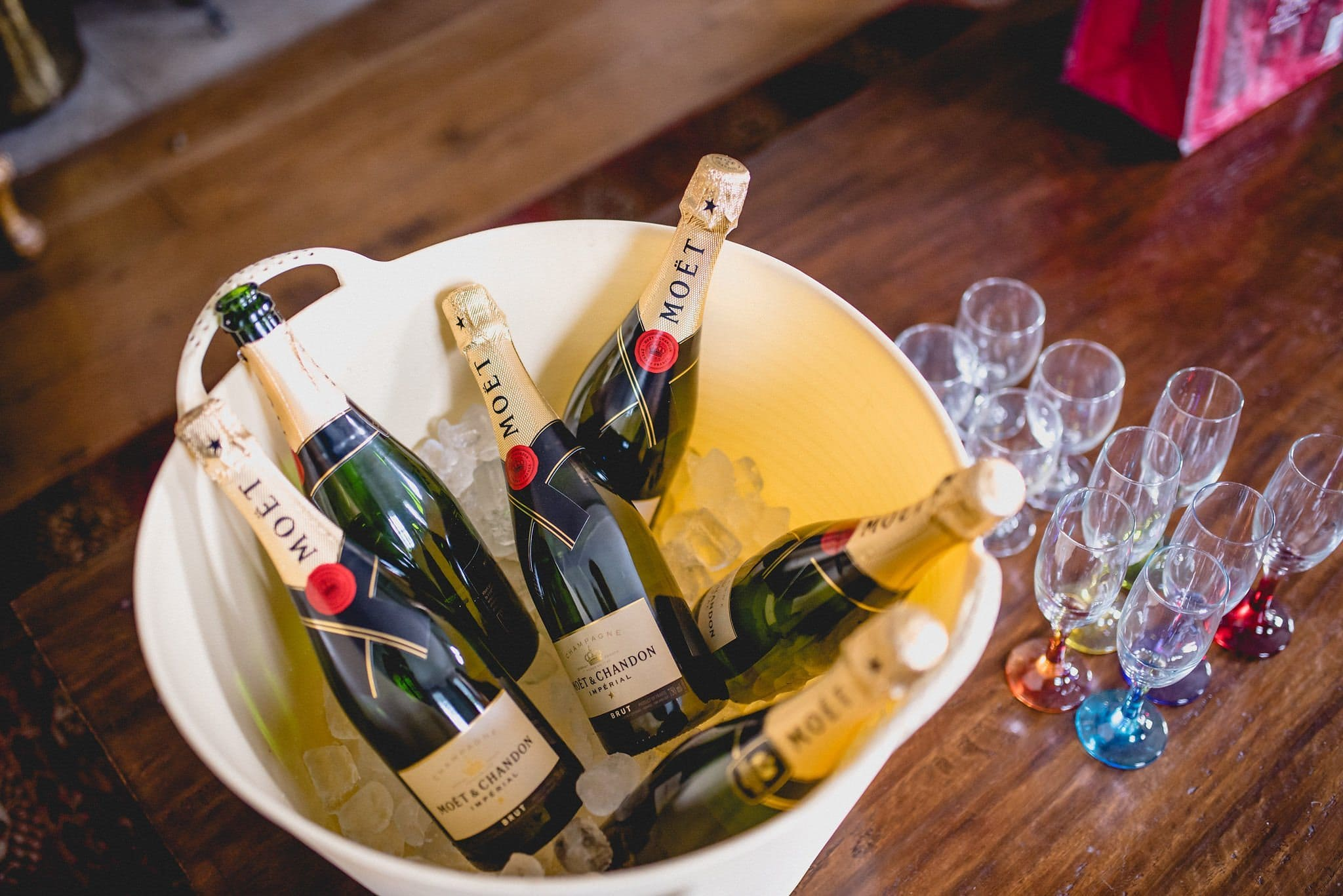 A bucket of champagne and glasses