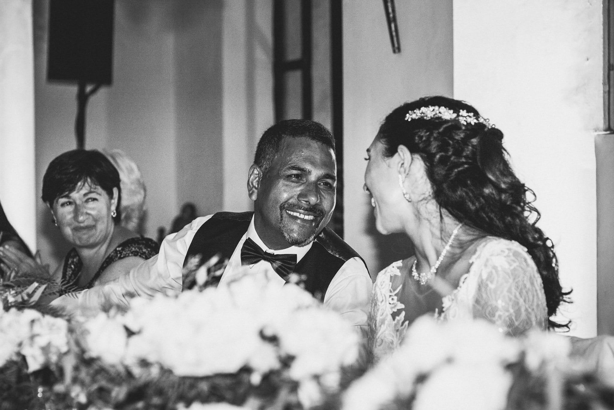 Bride looks at her father during the wedding speeches at her Luxury Marrakech Destination Wedding