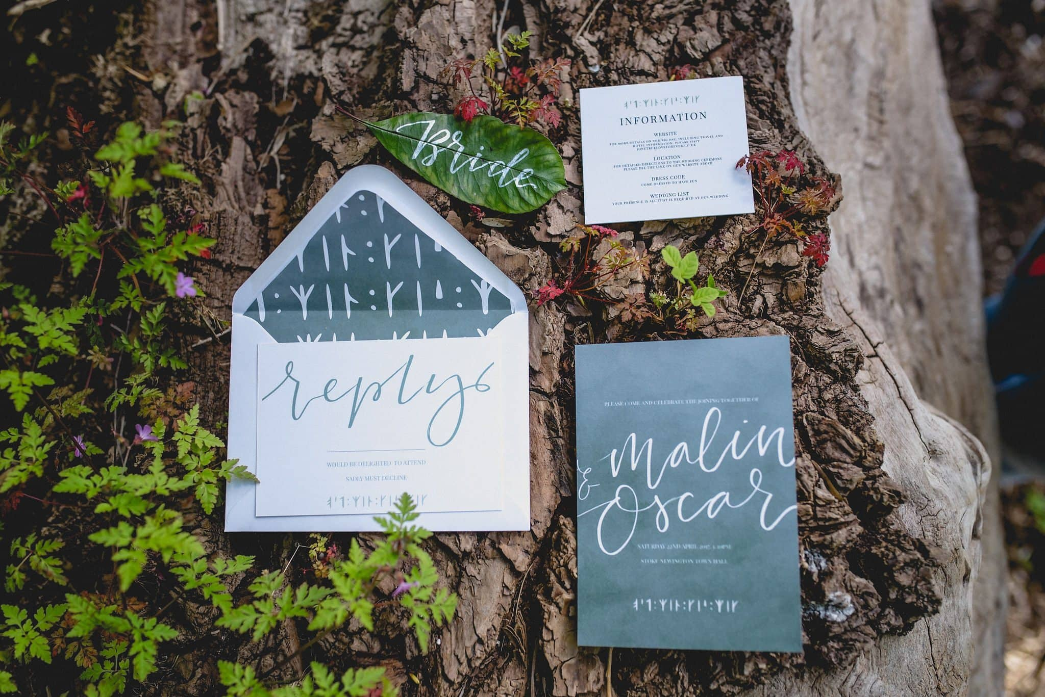 Flatlay of stationery suite on tree branch with leaves