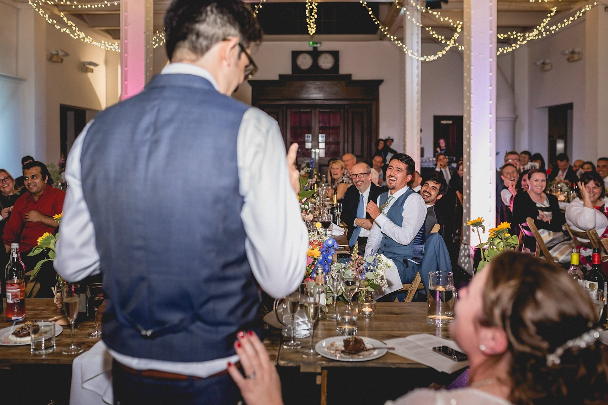 The groom makes his speech at his West Reservoir Wedding