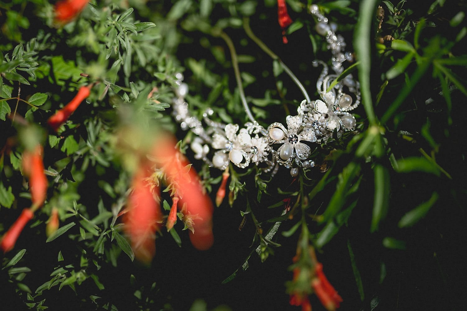 Bride's headpiece with pearls and beads is draped in the branches of a tree outside