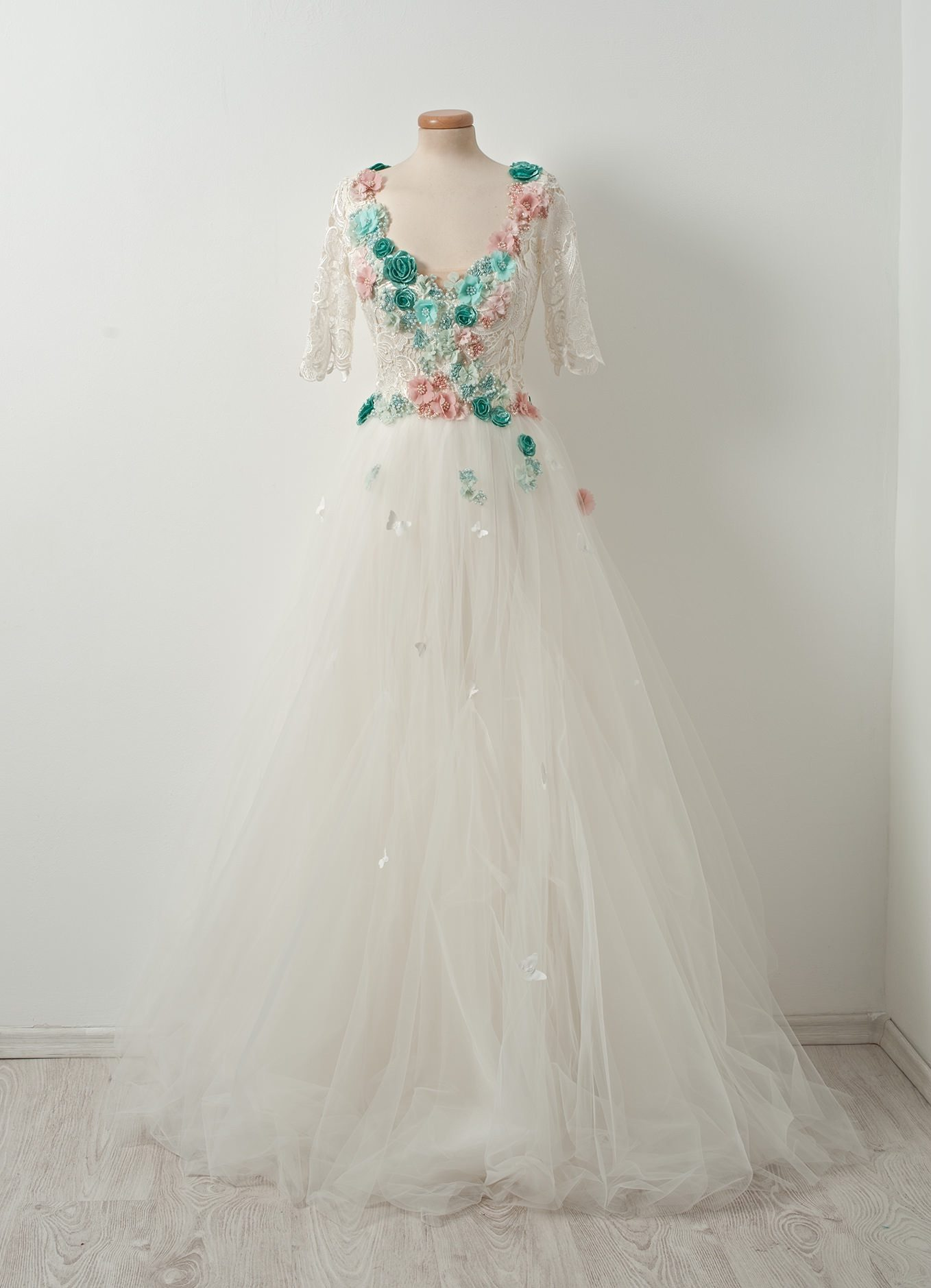 teal and pink lace Chotronette's French Macaroon dress