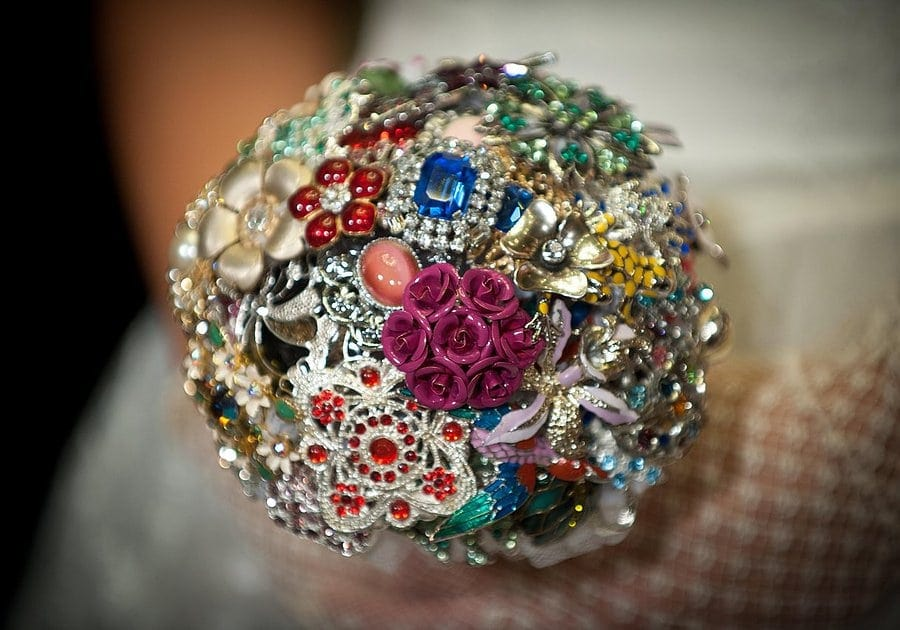 Colourful brooch bouquet by Nicola Garrett