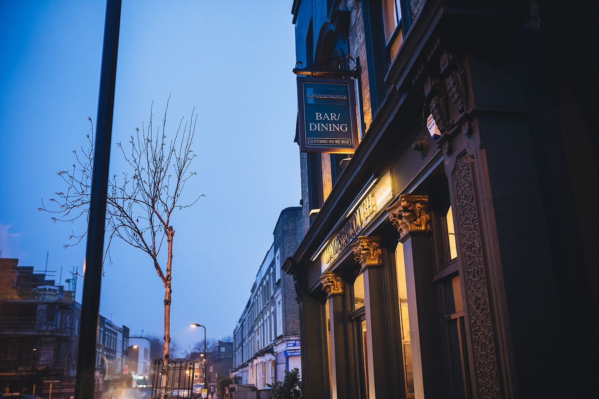 External shot of The Londesborough pub at dusk