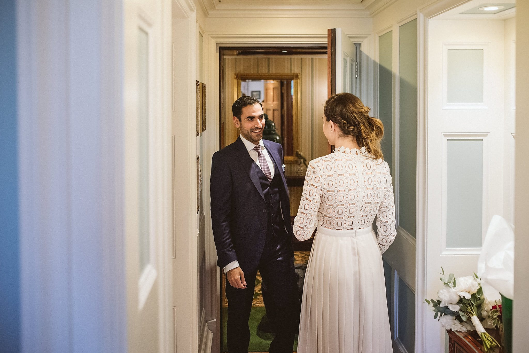 Bride and groom first look at their Lanesborough wedding