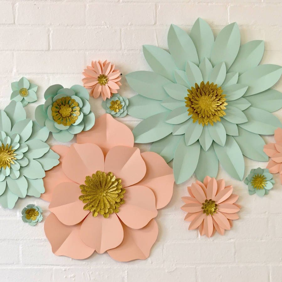 Pink and mint paper flower wall with gold glitter by May Contain Glitter