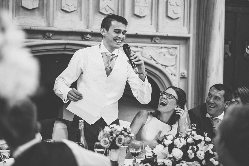 Groom singing during his wedding speech