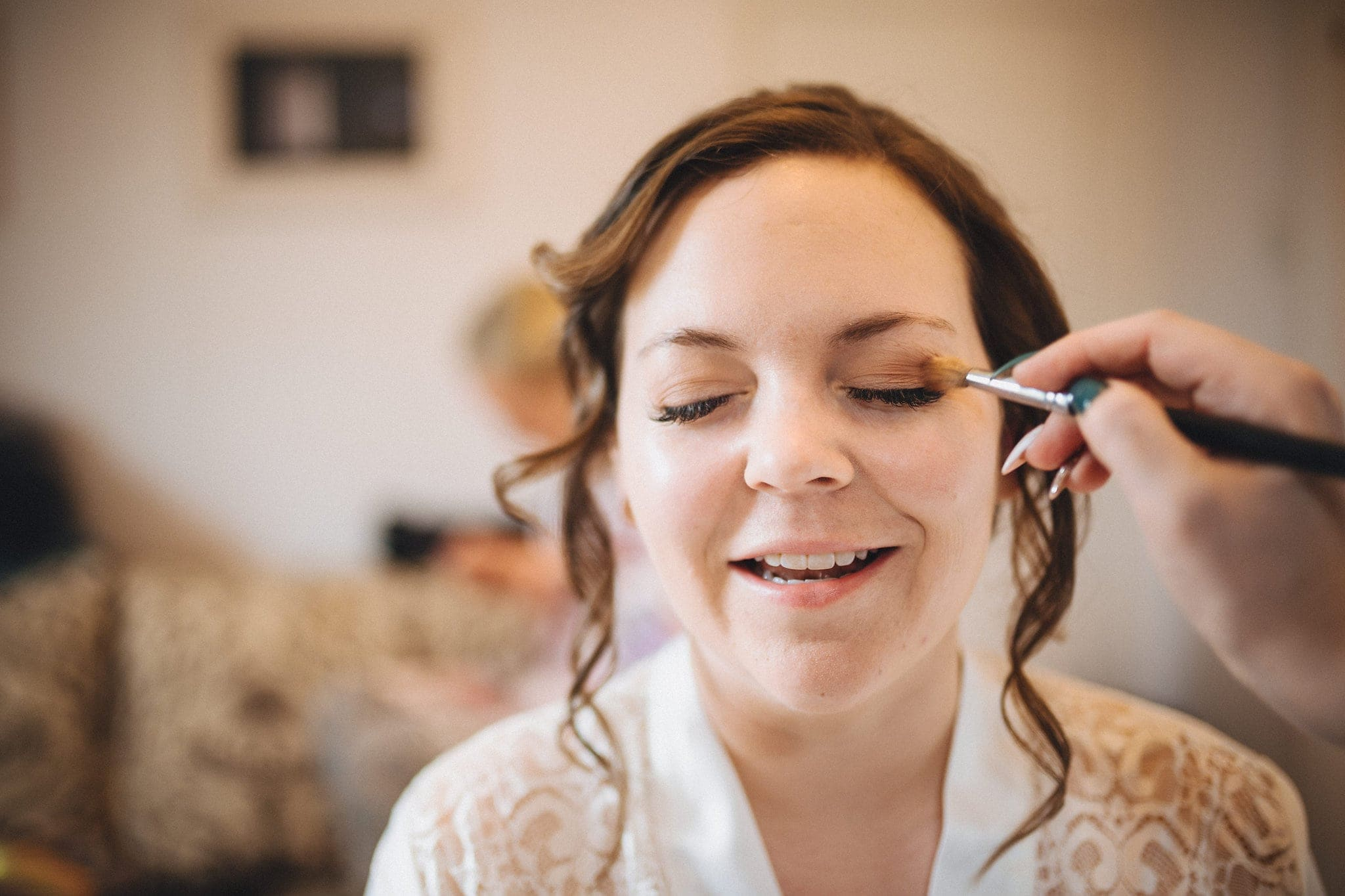 Bride has eyeshadow applied